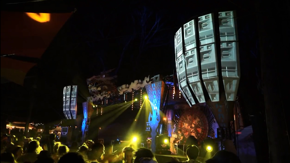 Video-mapping Funktion One, фестиваль Rainbow Serpent Festival, Автралия